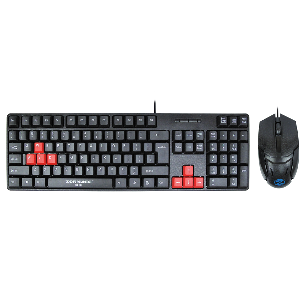 ZornWee Revenge II Gaming combo mouse and keyboard, Black - 6075