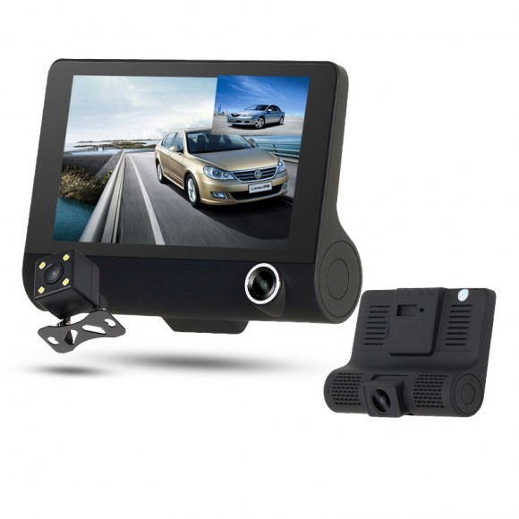 OEM Car DVR Vehicle 3 Camera Video Recorder Dash Cam Night Vision High Definition HD 4.0 LCD 1080P