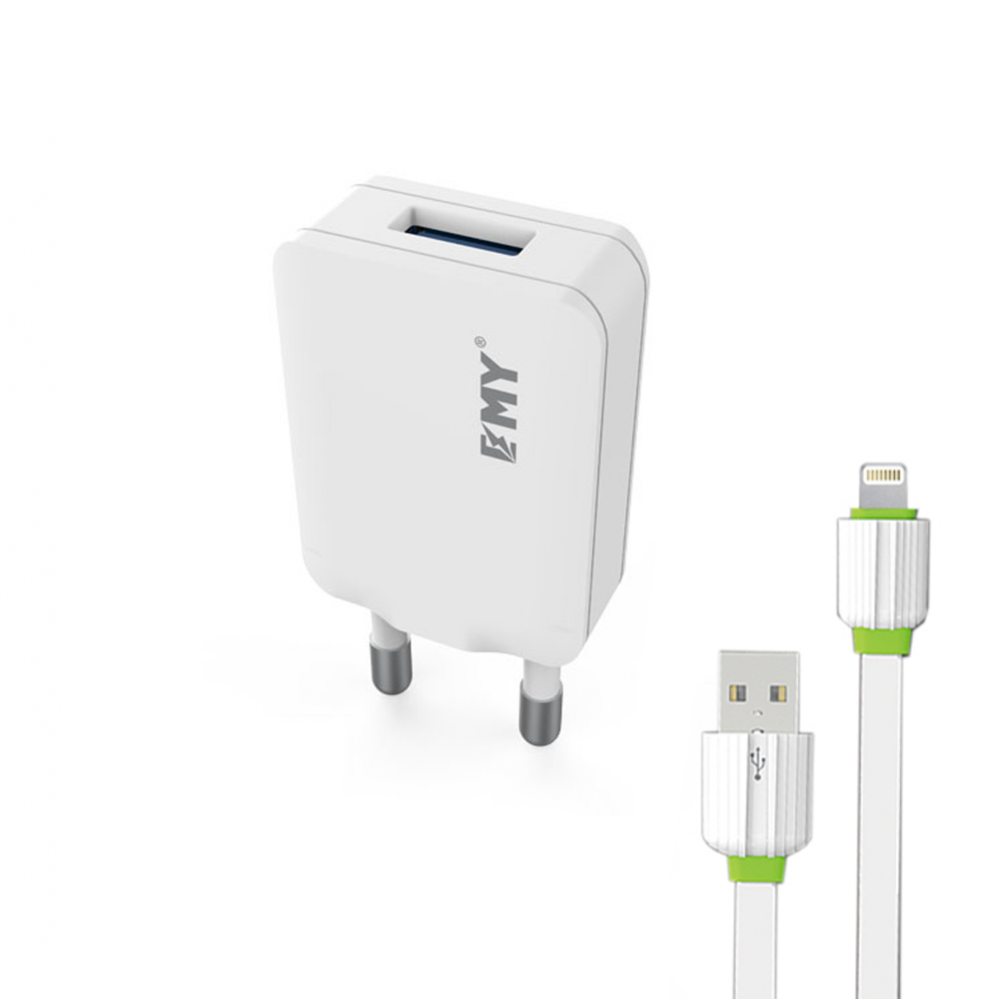 EMY MY-223, Network charger, 5V 1.0A, Universal , 1xUSB, With cable for iPhone 5/6/7, White - 14443