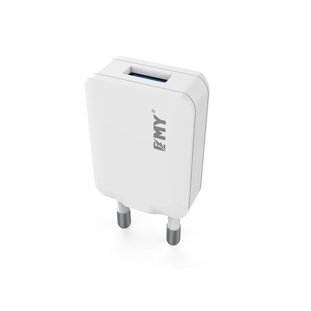 EMY MY-223 Network charger,5V 1.0A, Universal , 1xUSB, without cable, White - 14435