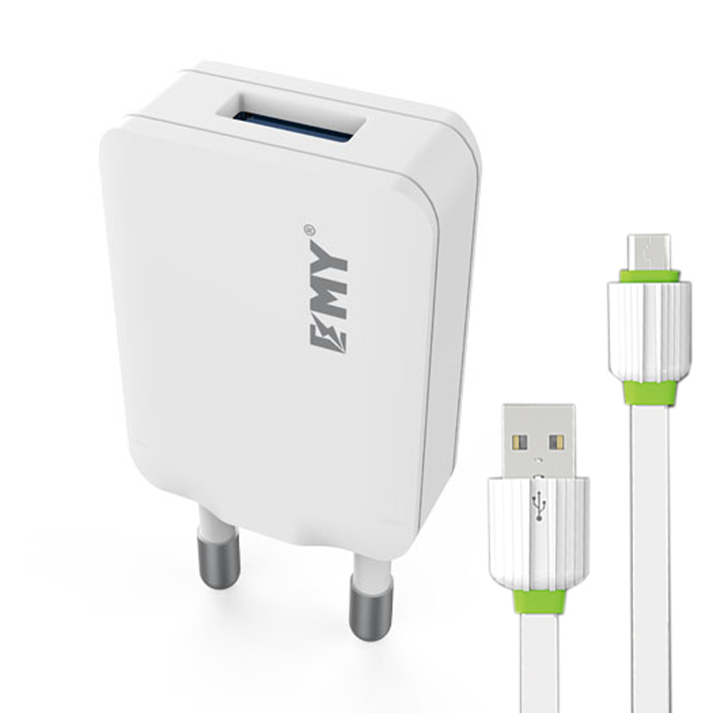 EMY MY-223 Network charger, 5V 1.0A, Universal , 1xUSB, With Micro USB cable, White - 14442