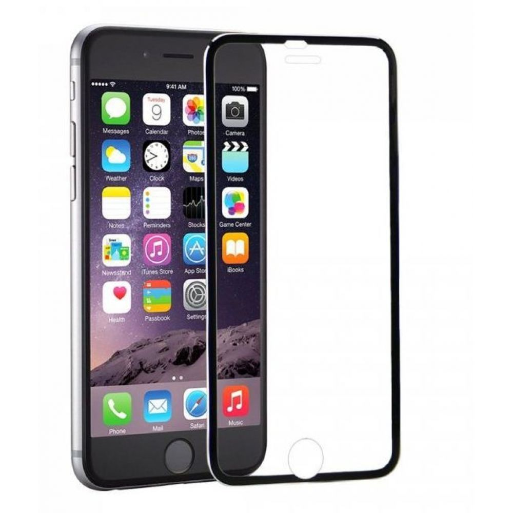 OEM Glass protector Tempered Glass for iPhone 6/6S, 0.3mm, With metal strip, Black-52203