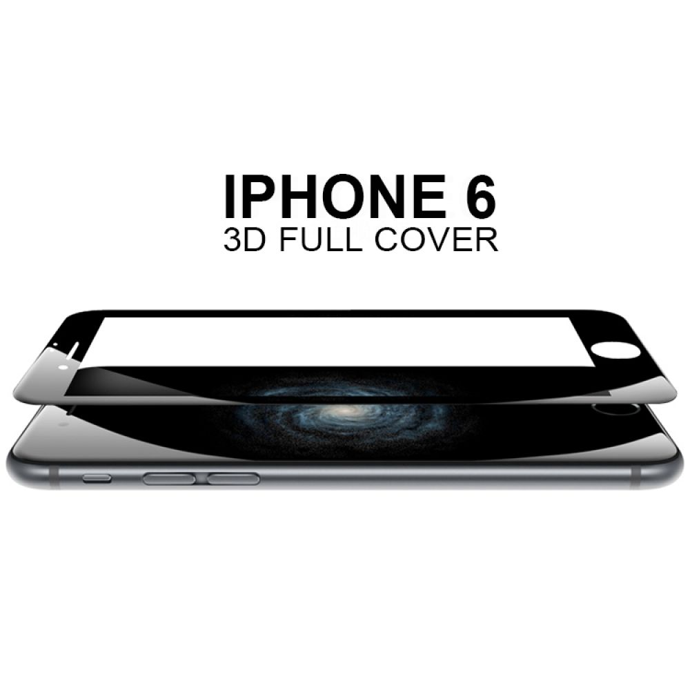 DeTech Full screen Tempered glass protector for iphone 6/6S black, 52188