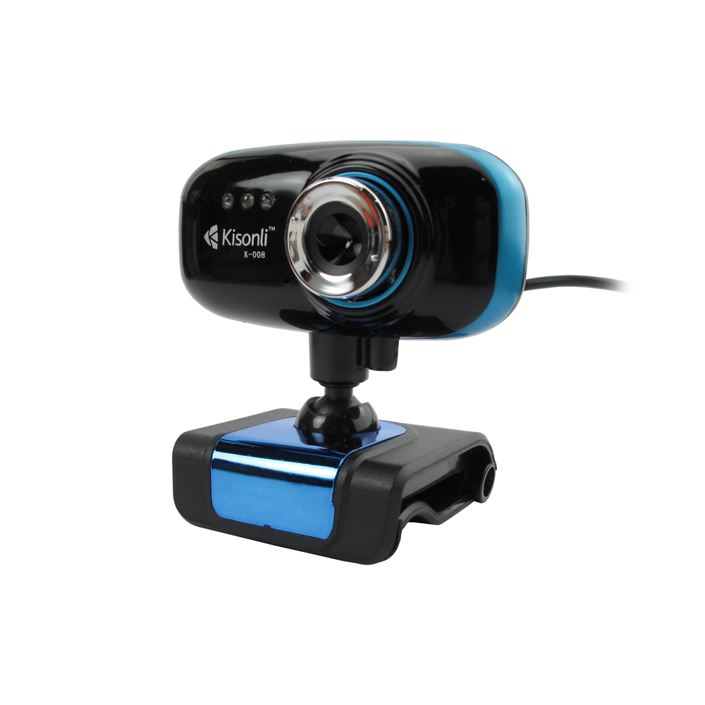 Kisonli K-008 Web camera With microphone and USB, Blue - 3022