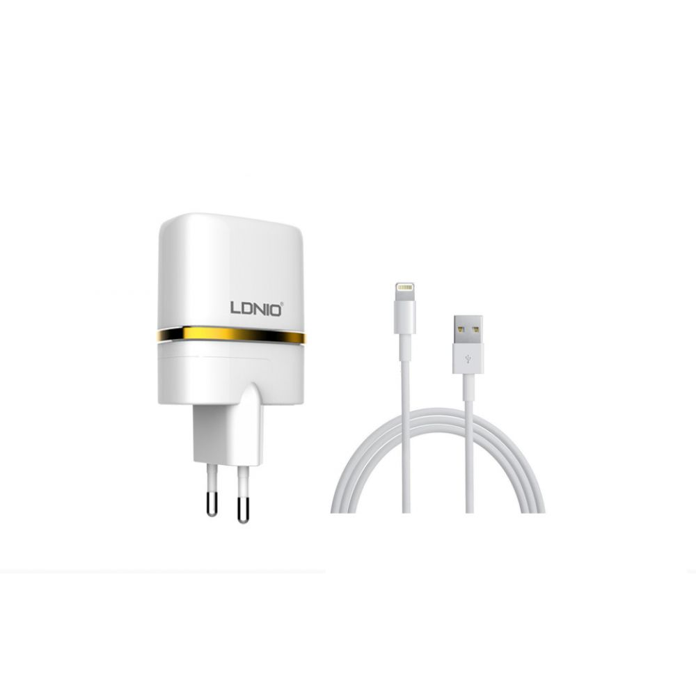 LDNIO DL-AC52,5V 2.4A, Network charger Universal,2xUSB, With cable for iPhone 5/6/7SE, White - 14372