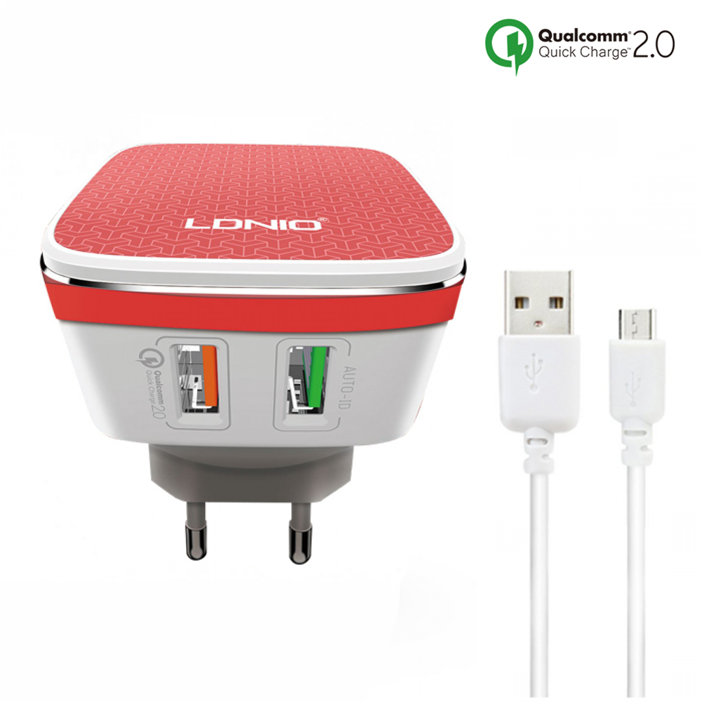 LDNIO A2405Q, Network charger, Quick Charge 2.0, 2 USB Ports, Micro USB Cable, White - 14467