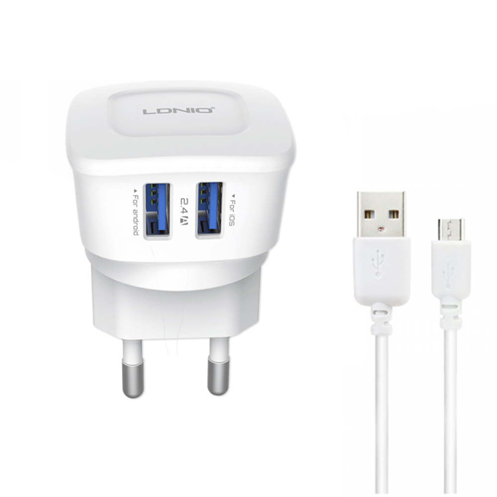 LDNIO DL-AC63, Network charger, 5V/2.4A, 2 USB Ports, Micro USB Cable, White - 14463