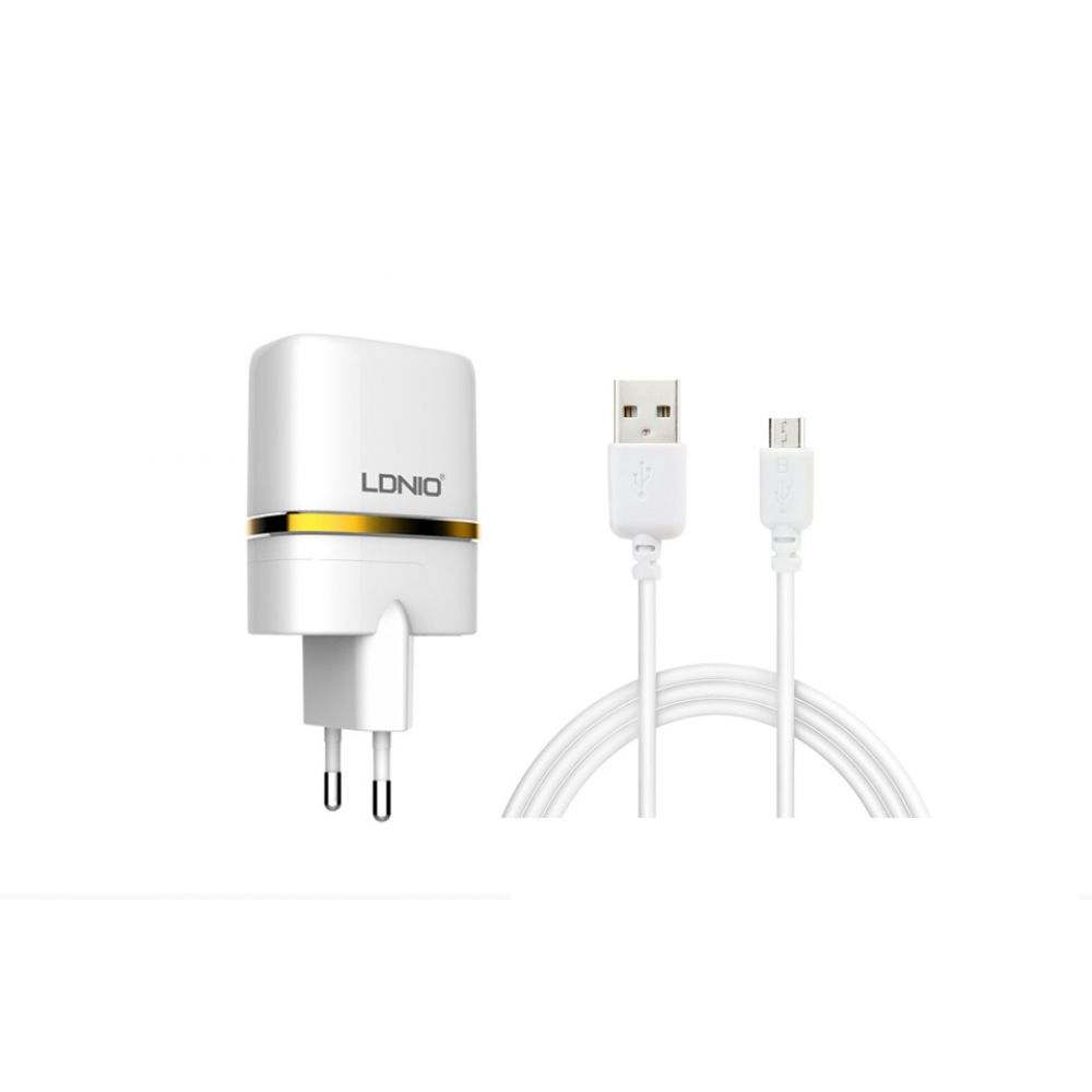 LDNIO DL-AC52, 5V 2.4A,Network charger Universal,2xUSB,With Micro USB cable,White-14372