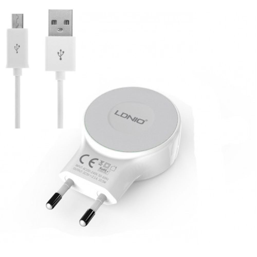Ldnio A2269, 5V/2.1A, Network charger with 2 port USB with cable Micro USB - 14293