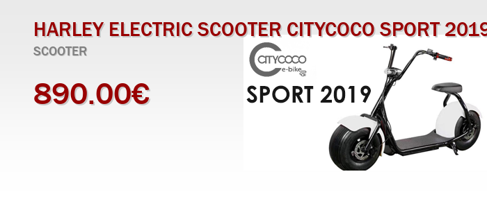 HARLEY ELECTRIC SCOOTER CITYCOCO SPORT 2019 WHITE 1000 W 12 AH BATTERY