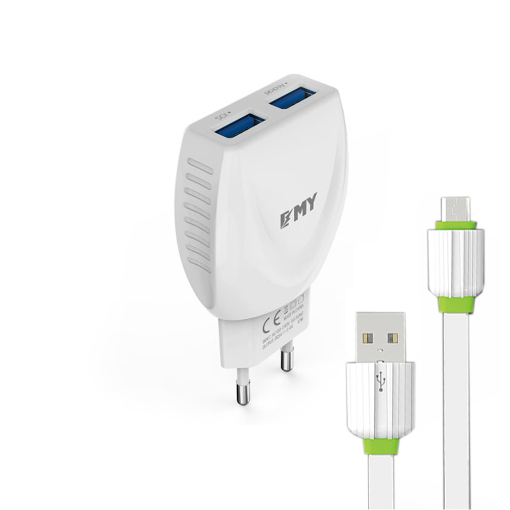 EMY MY-221 Network charger, 5V 2.1A, Universal , 2xUSB, With Micro USB cable , White - 14446